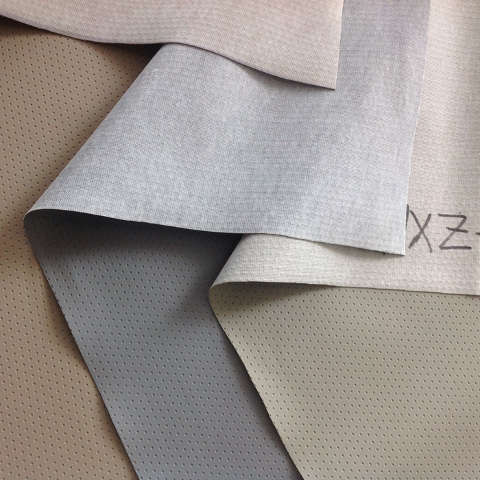 Grey Perforated Leather Fabric, PVC Leather For Car Seat And Glasses Box
