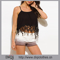New Stylish Ladies Camisole Wholesale Black Crochet Fringe Trim Spaghetti Strap Sexy Cami Tank Top