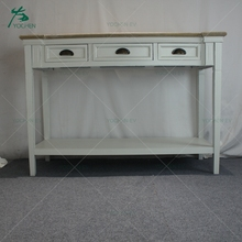 Three Drawers England White Painted Console Table