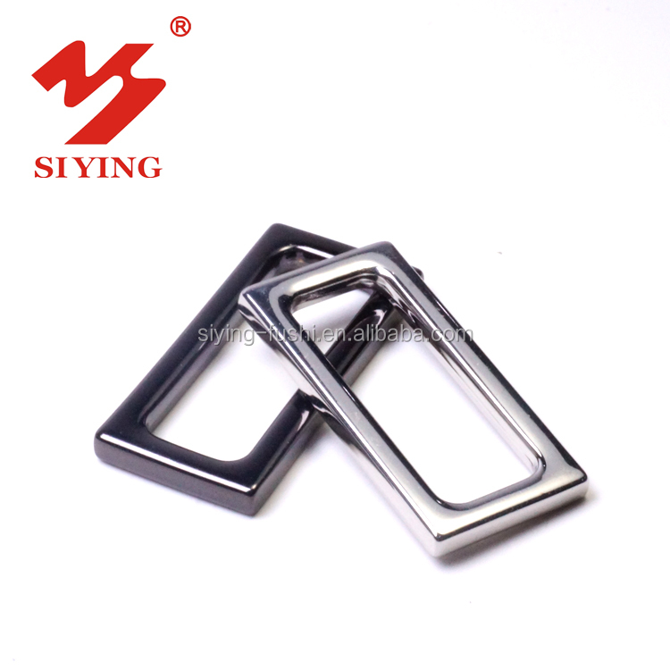 Metal silver rectangle buckle ring for belt and strap bags