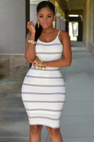 Summer Hot Fashion Women High Street Mini Backless Dresses Sexy White Black Stripes Open Back Bodycon Dress LC22333