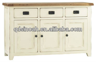 Distressed antique wood white sideboard furniture