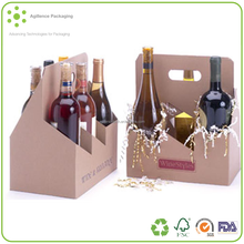 Eco-friendly Wine Packaging Corrugated 6 Pack Wine Kraft Cardboard Bottle Carrier, wine carrier