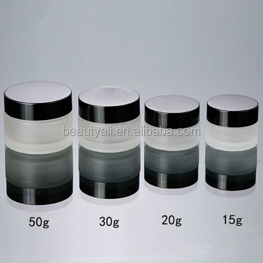 Cosmetic Packaging Frosted Glass Jar With Aluminum Cap 15ML 20ML 30ML 50ML