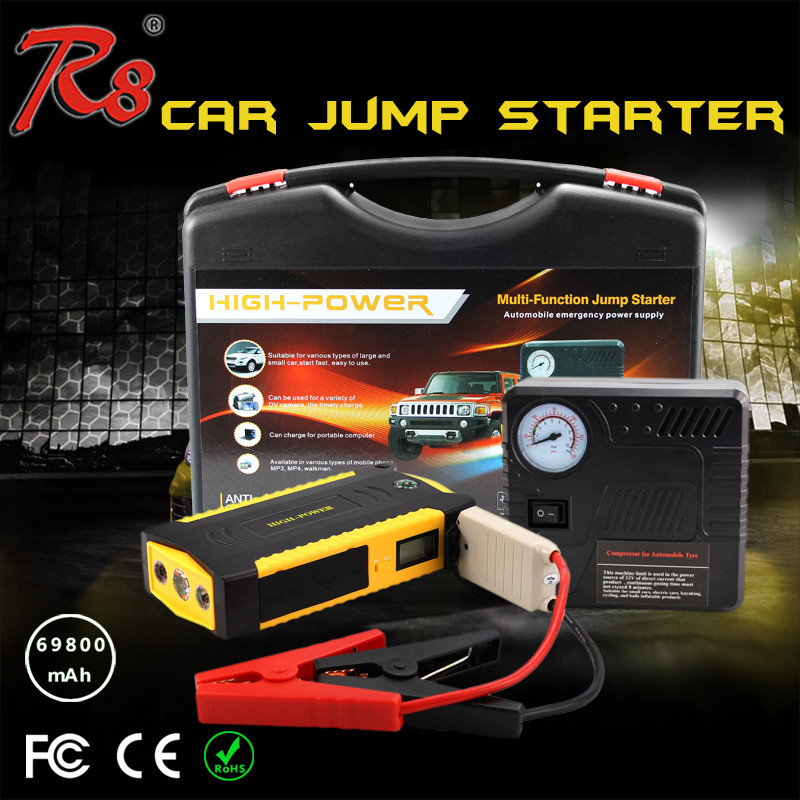 2016 New Product TM19B Emergency 69800mAh 12V Mini Multi-function Portable Car Jump Starter With Air Compressor