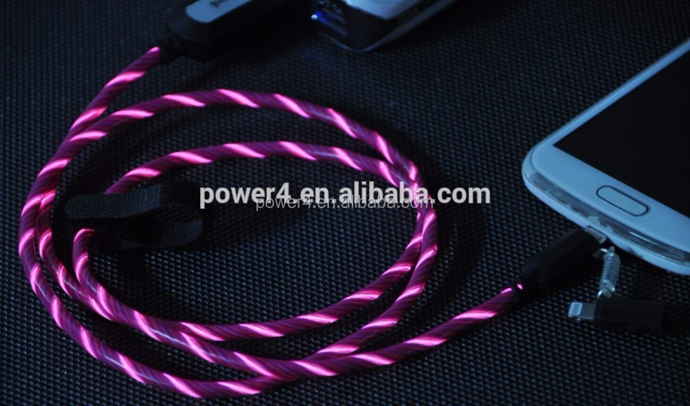 Power4 1m 3ft high quality durable ends EL glow usb c 3.1 type c cable for Samsung S6 Letv 2S OPPO R9