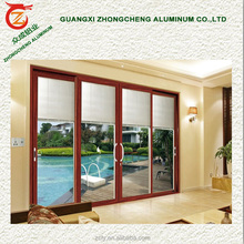 High quality double glazed aluminium alloy sale cheap sliding doors with blinds between glass