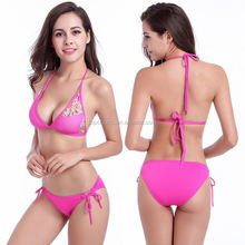 Wholesale Stock pink 2016 10 year olds open young girl sexy micro bikini swimwear models