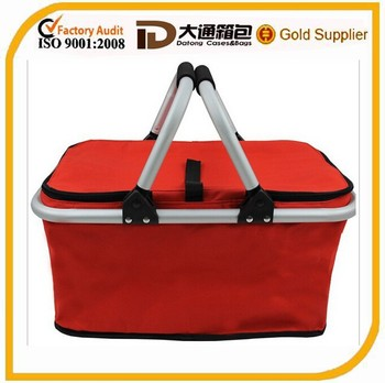 Portable foldable Picnic shopping bag foldable shopping basket aluminum frame