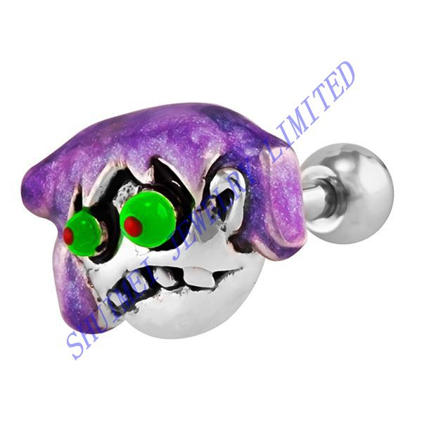 Purple Girl Zombie Ear Cartilage Stud Tragus Helix Barbell Earring Piercing Puncture Body Jewelry New 2015