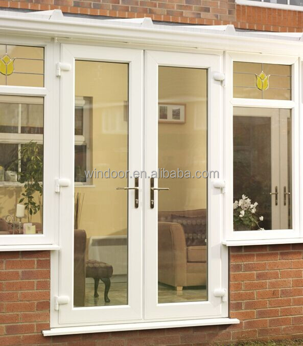 Windoor china factory upvc pvc profile french door for Upvc internal french doors