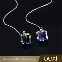 OUXI 2016 latest design Top quality AB color Long chain Drop ladies earrings designs pictures 21428
