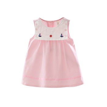 2019 Summer sleeveless pink stichin casual clothes new fashion dress with embroidery for 0-3 years old baby girl