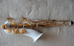 white saxophone tenor colored woodwind musical instruments professional