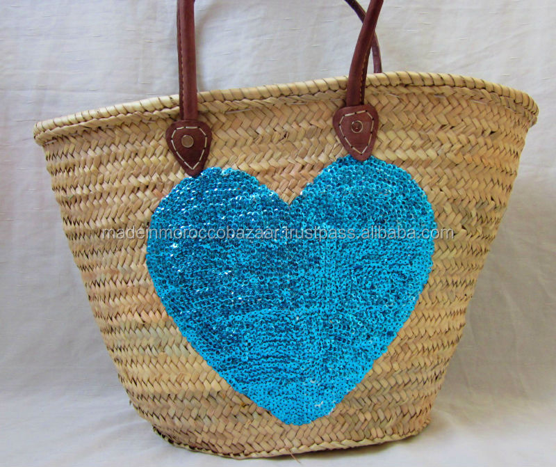 Elegant Moroccan Hand Sewn Sequinned Turquoise Heart Straw Wicker Basket