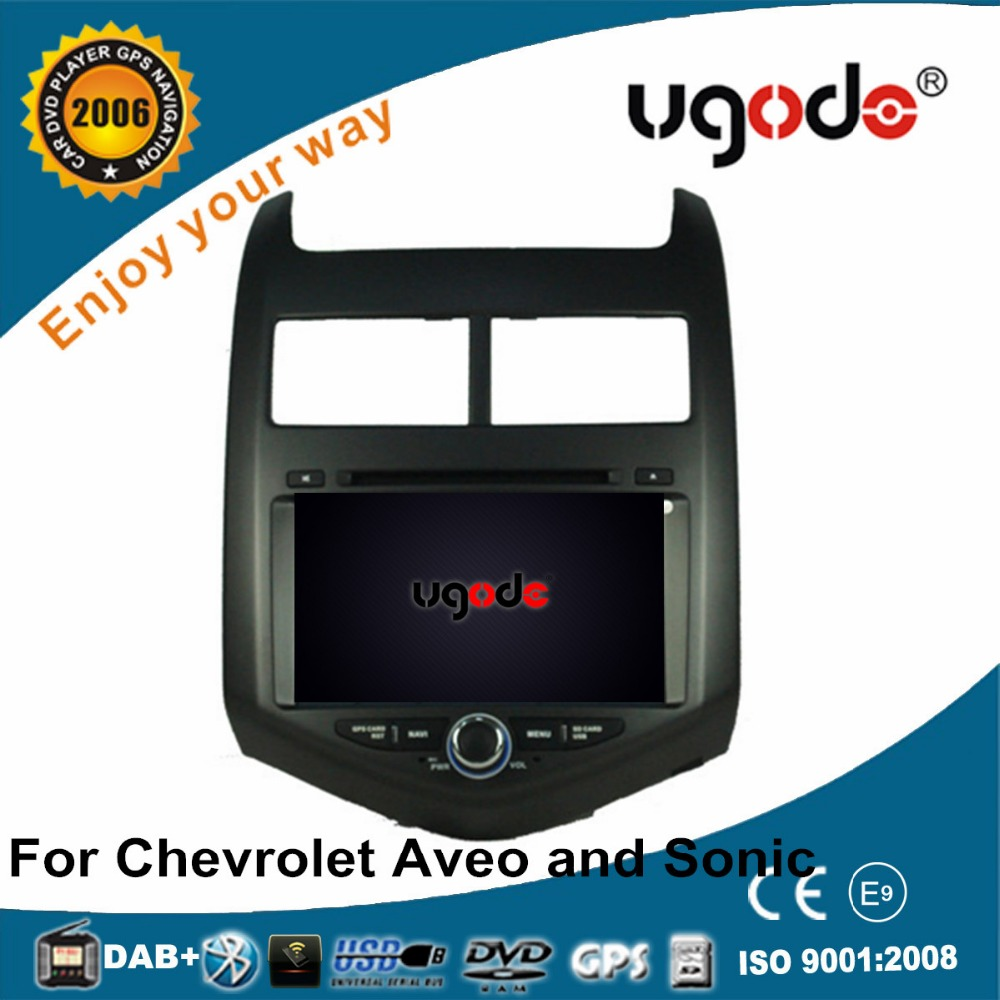 ugode two din car DVD for Chevrolet Aveo and Sonic 2012 with DVD GPS radio bluetooth USB SD car multimedia player