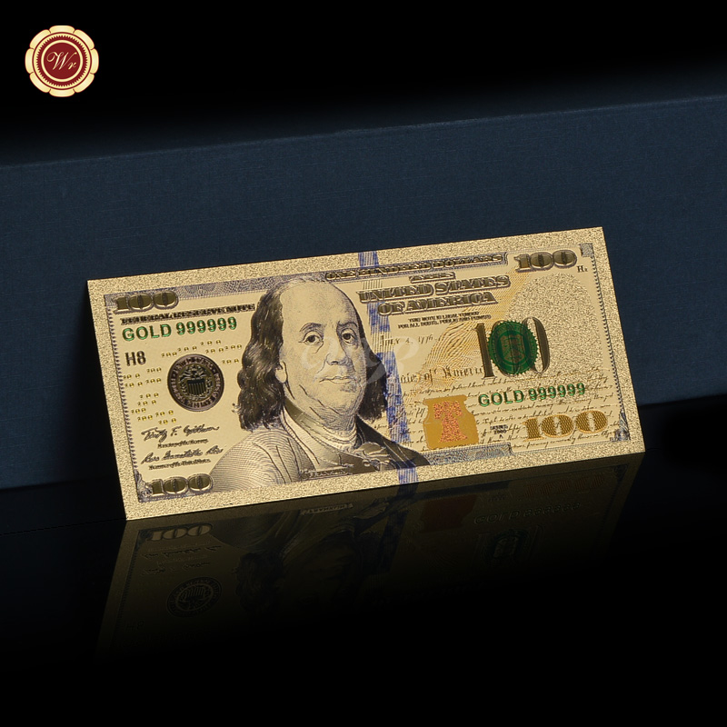 America Colorful Gold Banknote Replica New 100 Dollar Gold Foil Banknote Bill 999 Gold Paper Money Currency Home Decor