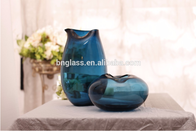BALLERINA Wholesale Colourful Design Decorative Light Blue Glass Vases For Home Decoration