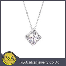 square solitue charms with chain princess cut high quality wholesale hot and popular
