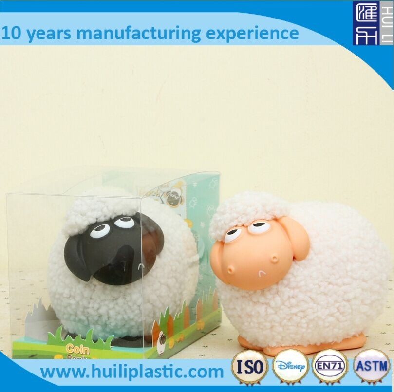 white sheep money box, flocking sheep money saving box, custom animal coin bank