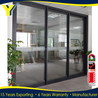 YY Construction Double glass Non thermal break aluminum sliding door used,Rubber Strip sliding door for good seal