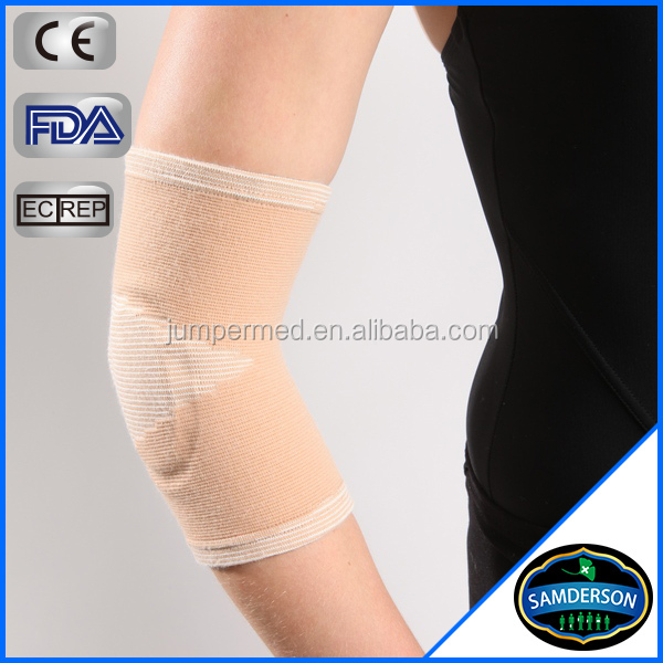 elastic textured knitting breathable beige elbow support protective sleeves for arms