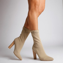 Wooden Heel In Beige pointed toe women shoes sexy high heel ladies ankle sock boots