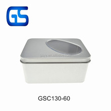 customized high quality rectangle shape window tin box clear PVC window metal candy tin cans