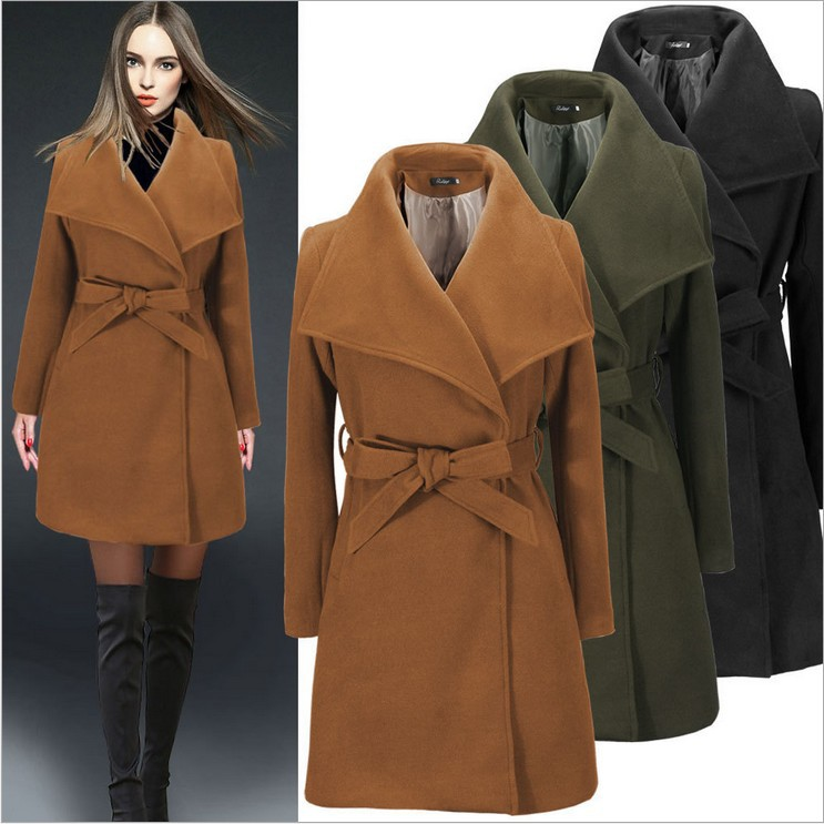 ZH01133B Custom factory directly fashion fit slim woolen women overcoat