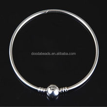 Genuine 925 Sterling Silver Bangle Bracelet with Clip Beads for European Charms