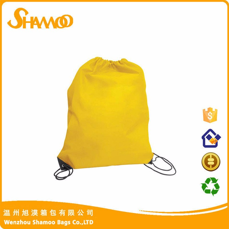 Recycle colorful polyester drawstring bag for school