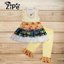 Floral with alphabet Pattern Printing Wholesale Baby Girls Sleeveless Boutique Outfits Kids Alphabet Clothing