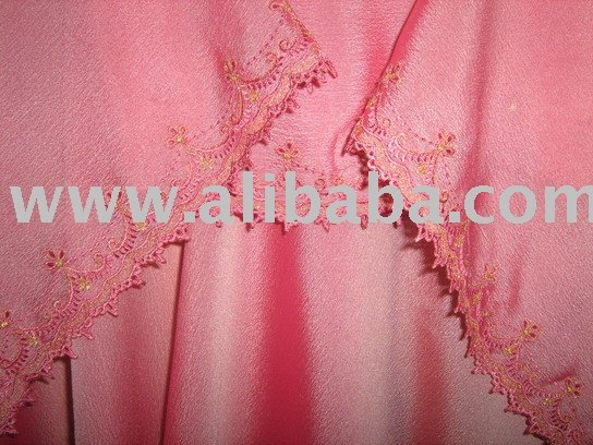 long hijab Embroidered chiffon, shawl