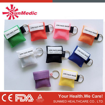 CPR Mask Keychain Ring Emergency Kit Rescue Face Shields with One-way Valve Breathing Barrier for First Aid