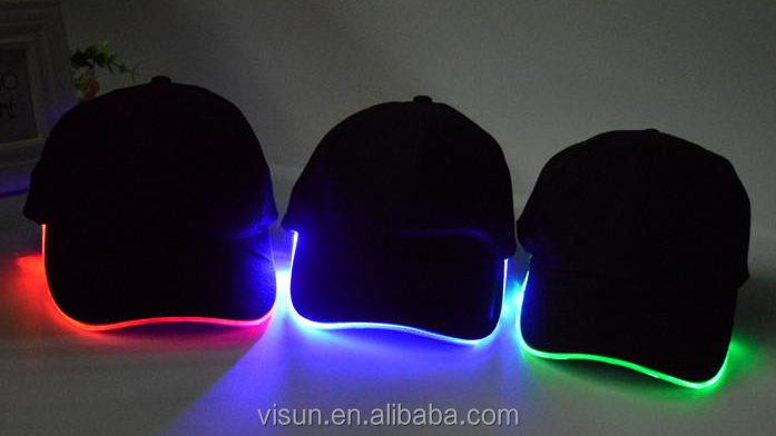 glow fiber optic cable around the brim LED baseball caps hat