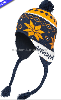 Unisex earflap jacquard hat with pom pom and fleece lining