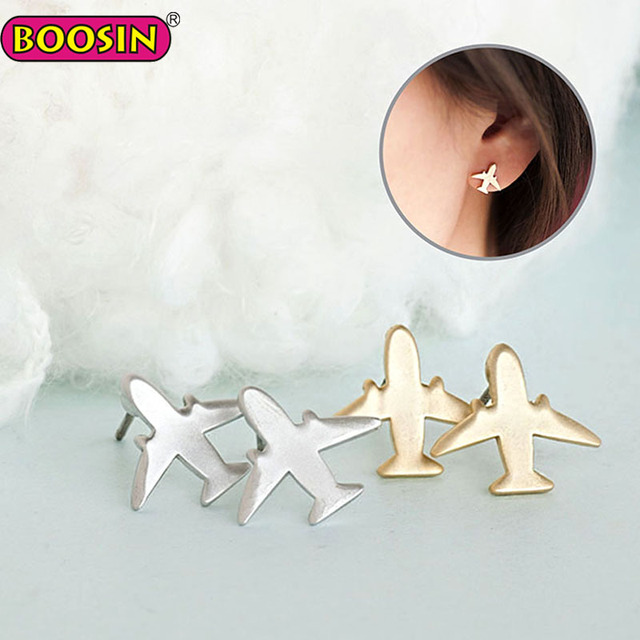 Simple Metal Silver and Gold Air Mini Plane Korea Stud Earrings, All Match Daily Jewelry For Women