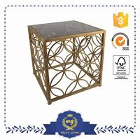 Modern Design Antique Gold MIrror Glass Tea Coffee Metal Table