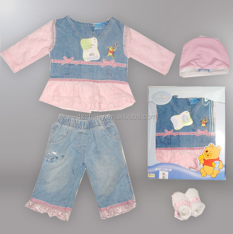 baby gift set suit mesh and Denim Fabric( winnie authorized production) baby clothing with boxes packing
