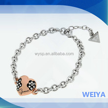 2015 new fashion chain charm 925 silver plated chain bracelet
