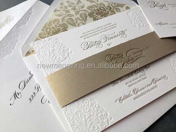 Gold Letterpress wedding invitations made in China