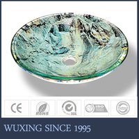 New Type Round Shape Colored Tempered Glass Double-layer Solid Quartz Sink
