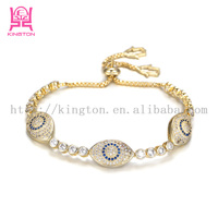 14k gold plated turkey blue evil eye bracelet jewelry