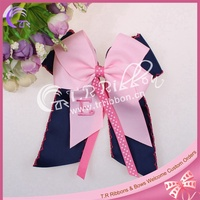 100% polyester ribbon bow with embroidered letters, large ribbon bow as cloth accessories