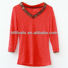 New fashion long sleeve lady t-shirt with bead