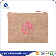 Custom Made Embroidered Jute Burlap Cosmetic Bag With Zipper