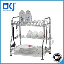 3-tier chromed commercial kitchen stainless steel dish drying rack/dish organizer/plate rack and holder