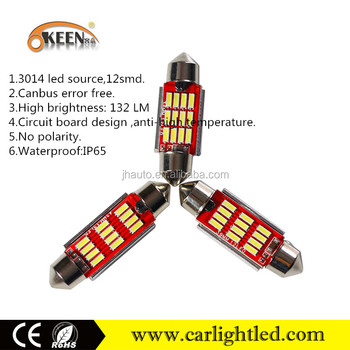 2016 top sell canbus no free 12V 24V festoon bulb led dome light 3014 12 smd vision auto lamp