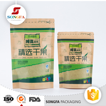 printing Zipper top small kraft paper standing up packaging pouch with window