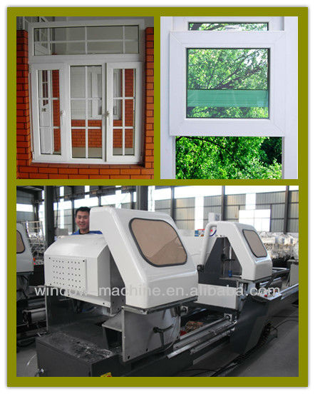 Double head window cutting saw/Semi-automatic digital disply two head cutting saw/Vinyl window making machine